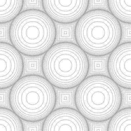 Abstract seamless pattern of rings and dots. Optical illusion of image volume. Geometric texture. Stock vector illustration.