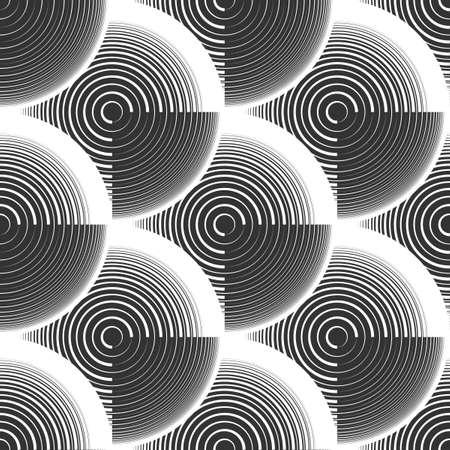 Abstract geometric rings seamless pattern. Optical illusion of volume. Black and white image. Stock vector illustration. Ilustração