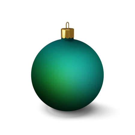 Bright green Christmas ball on a white background. An element for the design of a New Years banner or postcard.