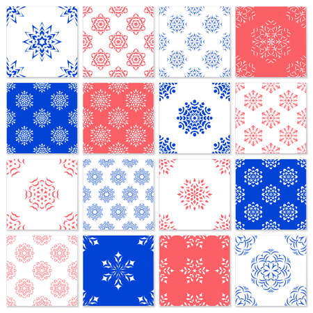 A set of seamless winter patterns with snowflakes. Design for Christmas packaging or fabrics. Vettoriali