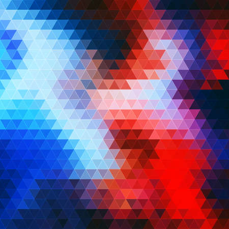 Abstract background with a geometric texture of triangles. Bright shades of blue and red.