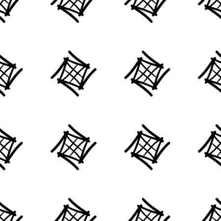 A simple seamless oriental-style pattern. Black geometric shapes on a white background.
