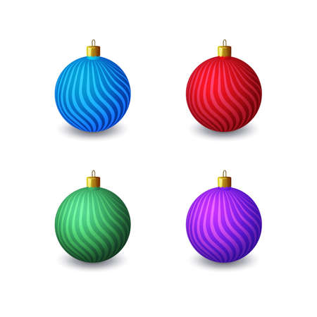 A set of four Christmas balls on a white background.