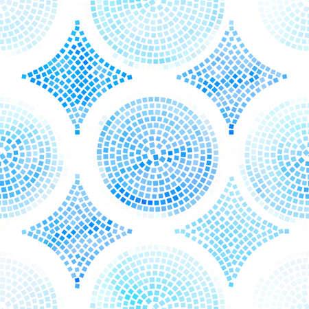 Blue and white abstract mosaic seamless pattern. Иллюстрация