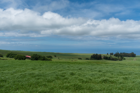 Panoramic view of the Kohala Coast on the Big Island of Hawaii taken from higher elevation Stock Photo