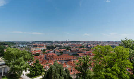 Prague's rooftops in the summer