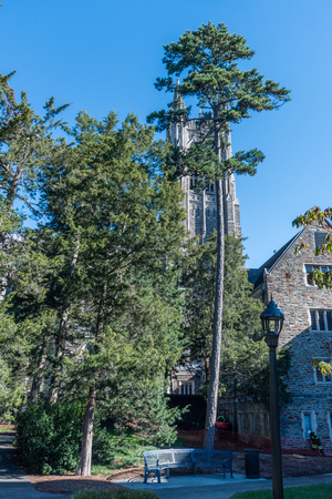 Side view of the Duke Chapel tower in early fall, Durham, North Carolina