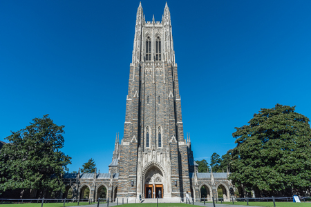 Front view of the Duke Chapel tower in early fall, Durham, North Carolina Banco de Imagens - 110813198