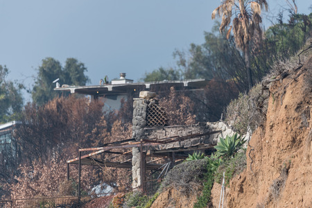 Aftermath of the Woolsey fire at the El Matador State Beach in Malibu, California