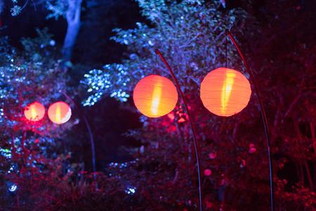 Beautiful glowing lanterns at night Stock fotó