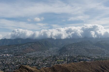 Beautiful aerial panoramic view from the top of the Diamond Head mountain on Oahu, Hawaii