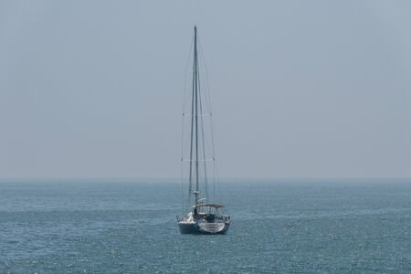 Scenic moored yacht vista, off the coast of Malibu, California