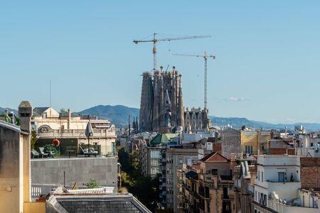 Scenic panoramic aerial Barcelona vista, Catalonia Editorial