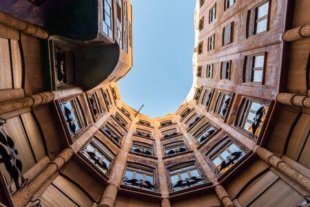 Scenic La Pedrera inner courtyard vista, Barcelona, Catalonia, Spain Editorial