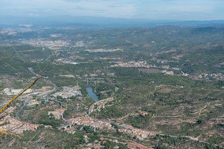 Scenic aerial Montserrat vista in Catalonia near Barcelona