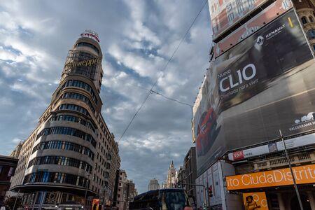 Scenic panoramic Gran Via vista in Madrid, Spain