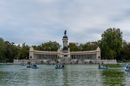 Scenic view of the large pond at the Retiro Park in Madrid in autumn Editorial