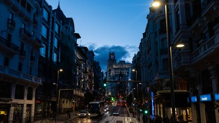 Scenic panoramic Gran Via vista in Madrid at dusk