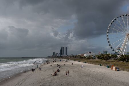 Scenic panoramic Myrtle Beach view under dramatic sky, South Carolina Editorial