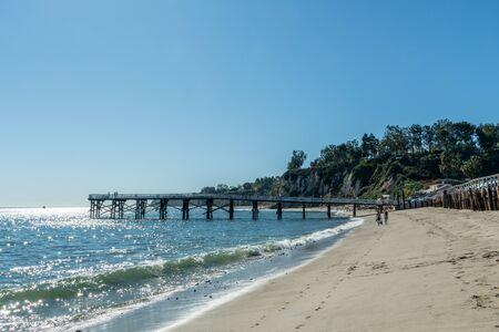 Scenic Paradise Cove pier vista in Malibu, Southern California