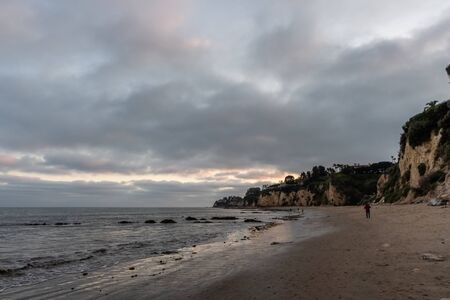 Scenic Paradise Cove vista at sunset, Malibu, Southern California Stock Photo