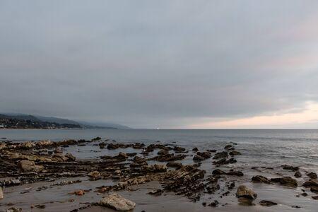 Scenic Paradise Cove vista at sunset, Malibu, Southern California Banco de Imagens