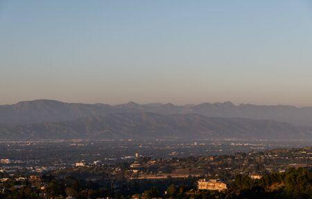 Scenic aerial San Fernando Valley vista at sunset, Los Angeles, California