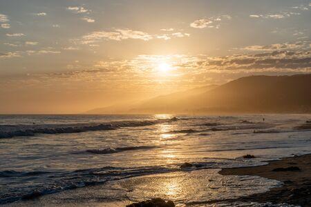 Scenic Zuma Beach vista at sunset, Malibu, Southern California