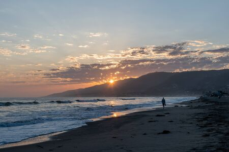 Scenic Zuma Beach vista at sunset, Malibu, Southern California