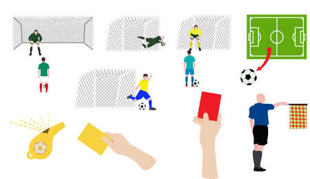 shootout: Flat design soccer football icons set