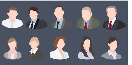 trendy male: Business Icons Colorful Female and Male Faces Circle Icons Set in Trendy Flat Style Illustration
