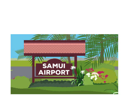 samui: Samui Airport Departure kiosk Illustration