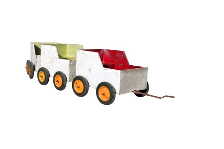 pull along: Toy train wagons Stock Photo