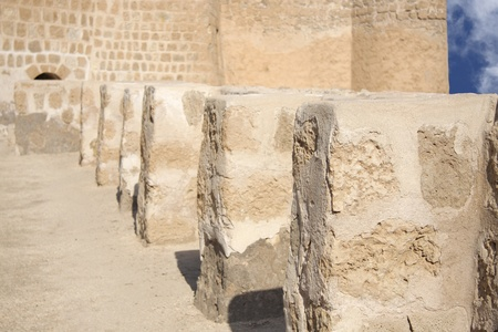 Small perpendicular walls supporting the main wall, Bahrain Fort Stock Photo