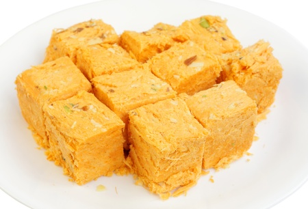 closeup of Soan papdi sweets