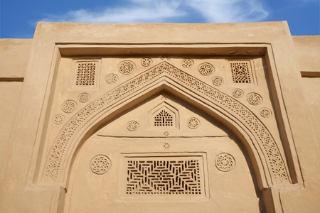 Beautiful ancient designs on the top of the door, Riffa fort Bahrain Stock Photo - 14340892
