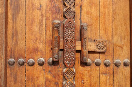 Traditional carved old Locking system of door photo