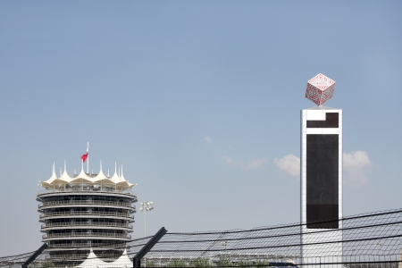 score board: VIP tower and a huge electronic score board in Bahrain International Circuit