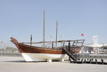 A traditional dhow kept at the venue of Formula 1,Formula 1, Bahrain International Circuit Stock Photo