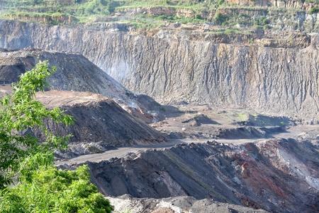 mud pit: Coal fire in opencast coal mine