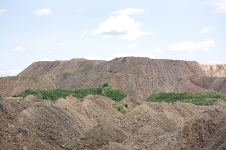overburden: Debris overburden mountain formed in the process of removal of coal