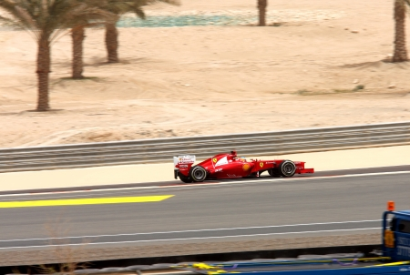 SHAKIR, BAHRAIN - APRIL 20: Fernando Alonso of Ferrari racing during Friday practice session in 2012 Formula 1 Gulf Air Bahrain Grand Prix on April 20, 2012 in Shakir, Bahrain