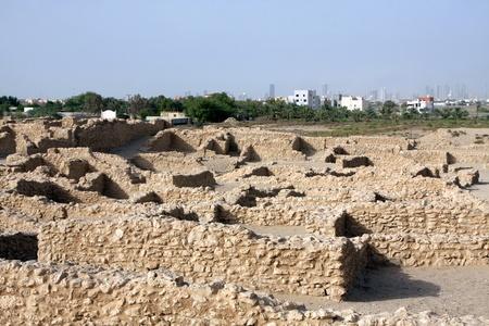 saar: Remains of walls of Saar village, looking north Stock Photo