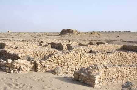 saar: Remains of blocks of housed with communal walls in Saar village Stock Photo