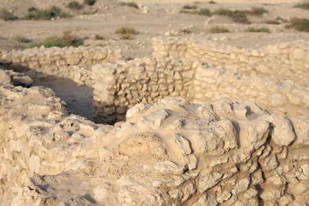 saar: Closeup of ancient limestone rock blocks in saar Village