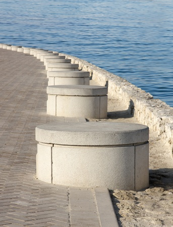 seating area: Cemented seating area in a corniche of Bahrain