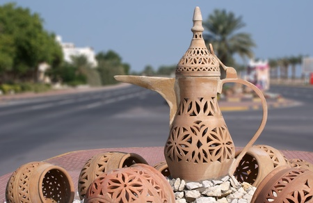 tradional: Arabic tradional pottery with Surahi in the center