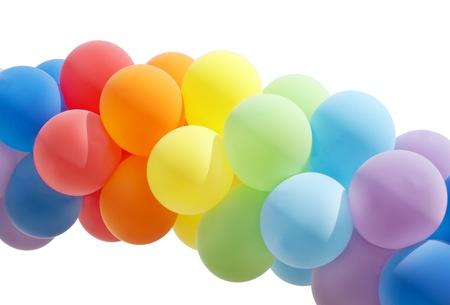 annual event: Globo de colores formando un arco aislado en blanco