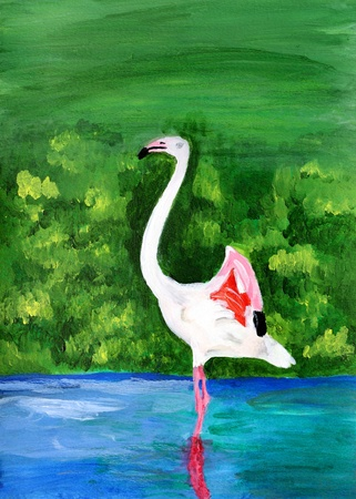 high  metabolic rate: Original painting of a flamingo, a child art