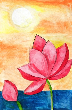 Original painting of a lotus and sun, a child art photo